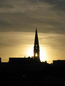 Sunset view of Dun Laoghaire church...