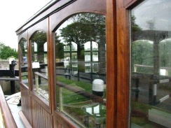 Cabin detail & reflections... moored at Ferrin's Lock for the evening...