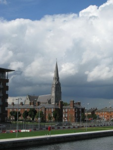 The spire of St Laurence O'Toole as seen from Spencer Dock