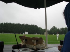 Rain, rain ... glorious rain ... peeping over the scorer's shoulder at those mad fellows out there in the liquid Irish summer sunshine! :)