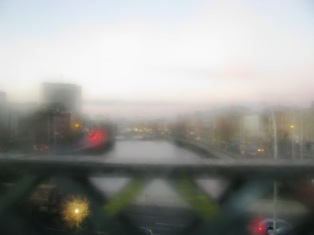 Misty morning train windows... crossing the Liffey on a winters morning...
