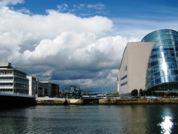 The old and the new... modern buildings flank the Liffey entrance of the Royal Canal... the new sea-lock visible beneath the old bascule bridge...