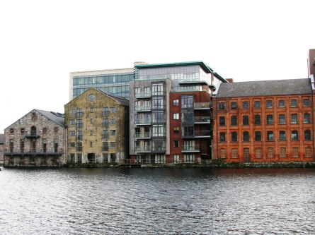 A last glimpse back at the buildings on the opposite side of Grand Canal Quay...