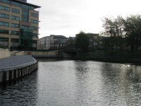 The wide open area around Grand Canal Plaza... additional mooring space... Maquay Bridge just visible...