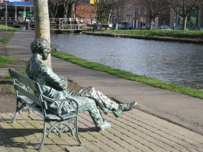 John Coll's sculpture of Patrick Kavanagh... on the bank of the Grand Canal...