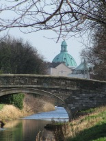 Looking back east... the green dome of the Church of Mary the Immaculate in Rathmines...