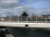 The new Ann Devlin LUAS Bridge is squeezed in between the Griffith and Suir Road Bridges...