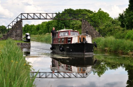 A boat at Ribbontail Bridge... Royal Canal,
