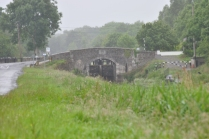 The first structure on the route... Digby Bridge with Lock 16 just visible through the arch.