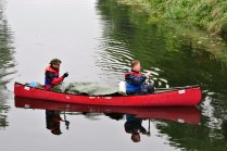 There go the lads in their canoe... back in the direction of Hazel Hatch...