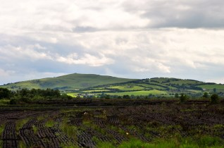 On the way home... the neat lines of peat look great against the backdrop of that hill!
