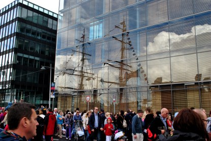 Reflections... people and masts... Tall Ships 2012 Dublin Ireland