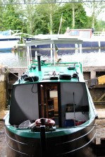 A boat undergoing a bit of work in one of the dry docks...