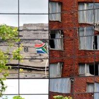 Reflections... The SA flag reflects off the SA Embassy Building's glass...