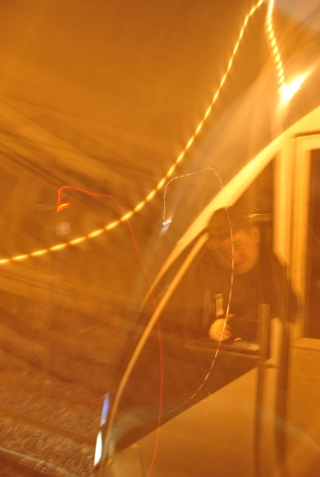 Train driver at Enfield station... blurred fun...