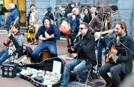 Cold Band, playing cold... haha, the lead man actually said something about being cold enough to go home after the next song... so, I kept walking...