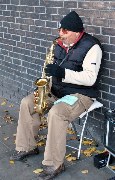 More sax please... This fellow sat well away from the other folk on Grafton Street... maybe he figured he's get more passing trade from the folks on the way to the station..