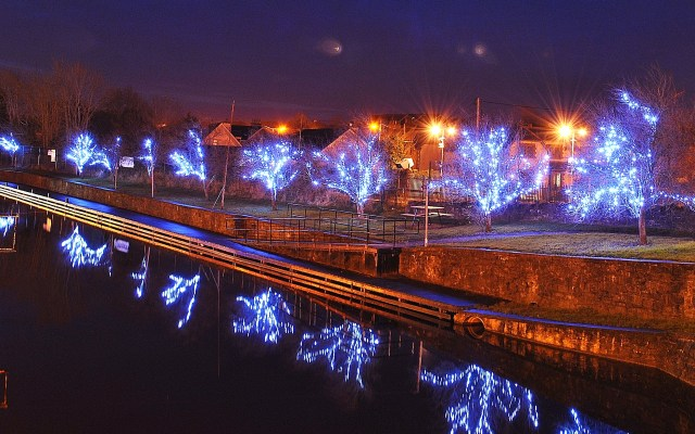 The Christmas lights at the harbour...