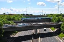 Jun 04 A rare sight indeed... 5 boats on the M50 Aqueduct as a train lashes by. Royal Canal, Ireland