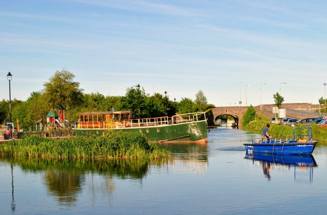 The Rambler and other boats on a summer's day, Maynooth Harbour, Royal Canal