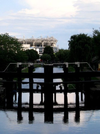 Royal Canal Lock Gates... Croke Park in the distance...