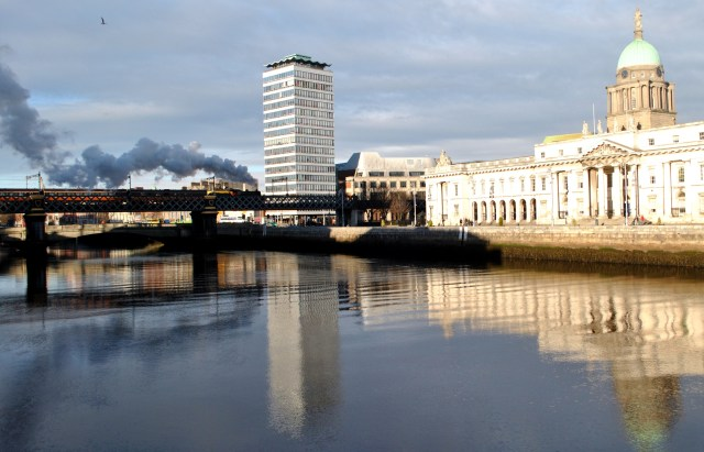 Steam crossing the Liffey in Dublin... Dec 2012
