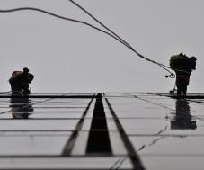 May 10 abseilers doing their thing over the edge of the Google Docks building, Dublin, Ireland.
