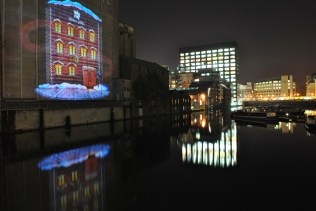 Christmas light on the old mill on Grand Canal Dock...