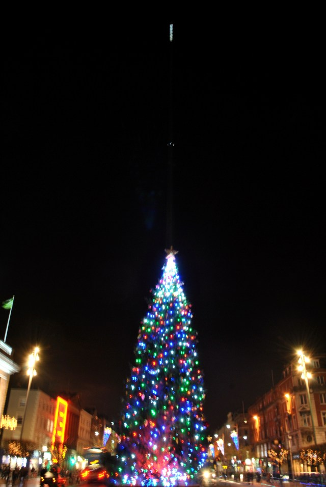 2012 Christmas tree on O'Connell Street < Dublin Ireland... the Spire in the background