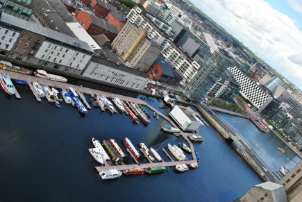 Aug 23 - A view of the Grand Canal Dock almost filled with boats