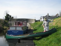 Seamus Mc Donnell and his canoe at the 15th Lock on the Royal Canal