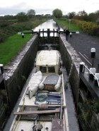 4E wedged between the lock gates at the 14th Lock on the Royal Canal
