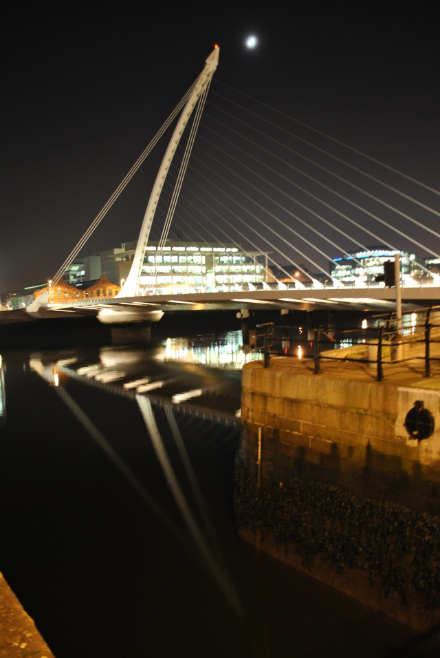 Night view of the Samuel Beckett Bridge, Dublin Ireland, as seen from the beginning of the Royal Canal