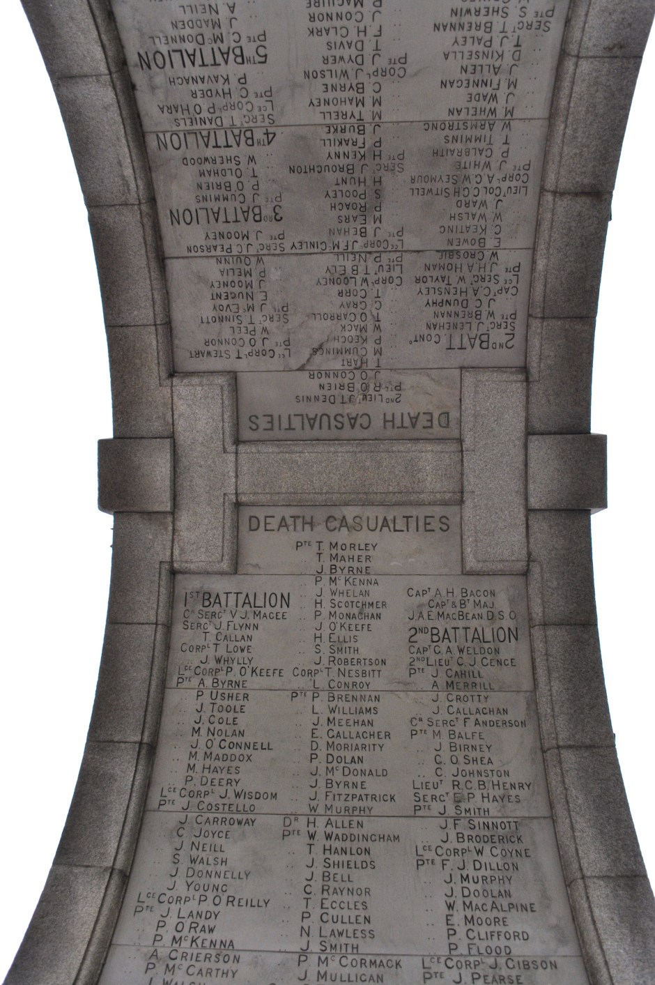 Names inscribed on the underside of the Fusiliers Arch
