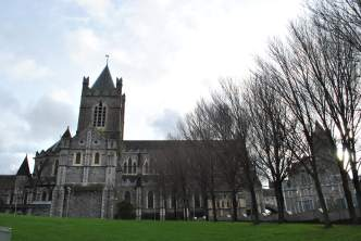 Trees... stone... man's creation... Christ Church Cathedral as seen from the Amphitheater to the rear of the DCC buildings...