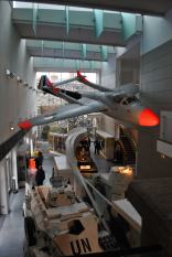 de Havilland Vampire suspended from the Collins Barracks National Museum of Ireland ceiling