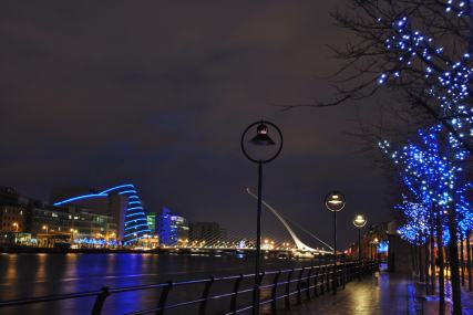 Dublin's Samuel Beckett bridge and the Convention Center display well in the evening...