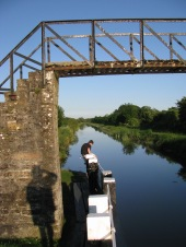 Yours truly catching himself at Ribbontail Bridge... junior sone poses at the en of the gate boom... Royal Canal,