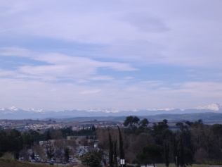 Snow on the distant Pyrenees, as seen from Carcassone, southern France...