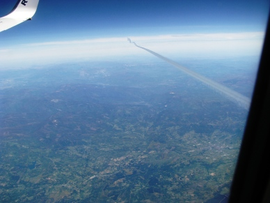On the way home... that vapour trail passing below us is that of a 747... quite a moment when our paths crossed!!