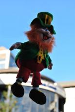 Larry the levitating Leprechaun celebrating St Patrick's day in Dublin, Ireland