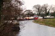 Looking from the west at the barges moored at Furey's
