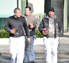 The 3 Painters out for their coffee stroll on a April morning in Dublin, Ireland...