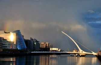 The Convention Center and Samuel Becket Bridge against a rainy background... Dublin, Ireland.