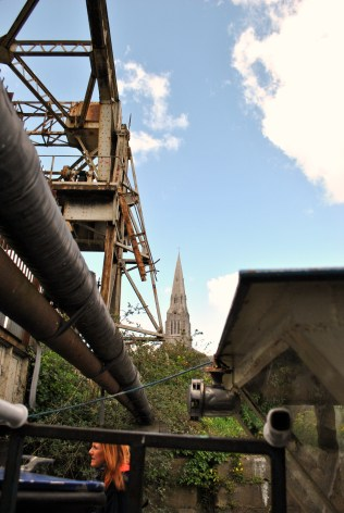 The view of the church steeple from almost under the bridge...