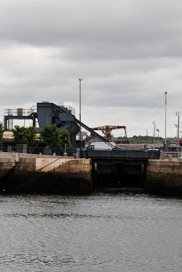 A closer view... the Sea Lock seen beneath the now fixed lifting bridges...