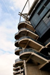 The imposing structure of a stairwell at Croke Park Stadium...
