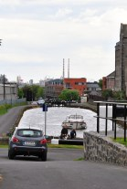 Are those the Poolbeg twins I see? A view back from the 6th Lock toward the city. The large harbour area at Shandon Mills...