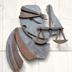 Lady Justice outside the New Law Courts in Dublin, Ireland... will see ever see the real view of things?