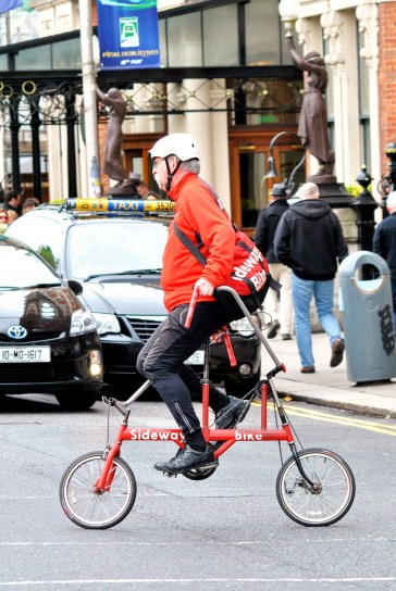 Lateral thinking at it's best! The Sideways Bike in action in Dublin, Ireland!